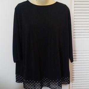 Susan graver blouse with polka dot hem detail
